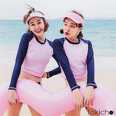 東京著衣 韓國同步運動長袖泳裝上衣-S.M(共一色)