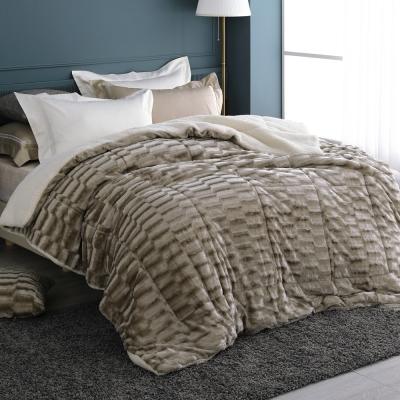 HOYACASA璀璨金 仿貂絨羊羔加大厚毛毯