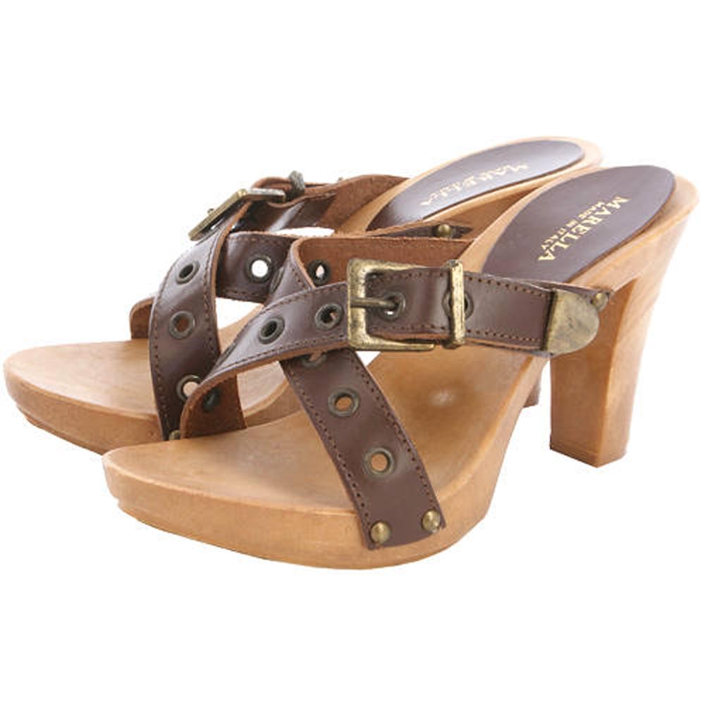 MARELLA 咖啡色皮帶造型木質高跟鞋(展示品)