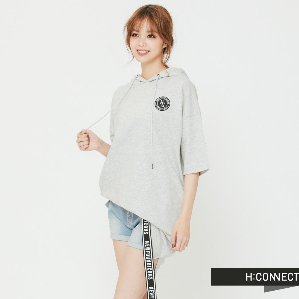 H:CONNECT 韓國品牌 女裝 -背印字短帽T上衣-灰