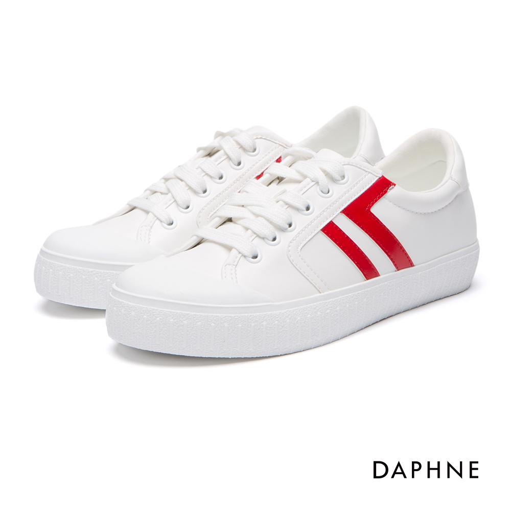 達芙妮DAPHNE休閒鞋-拼色線條繫帶內增高休閒鞋-紅