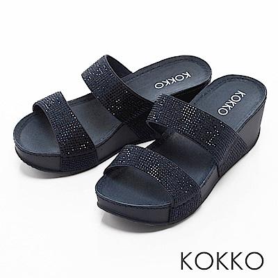 KOKKO-閃耀滿鑽寬版厚底涼拖鞋-單寧藍