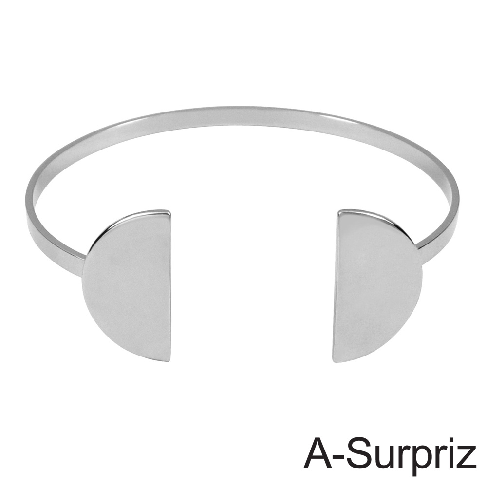 A-Surpriz 永恆半月造型開口手環(白K色)