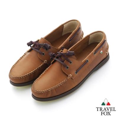 Travel Fox(男) STYLE-風格流行 三角楦經典牛皮帆船鞋 - 情侶棕