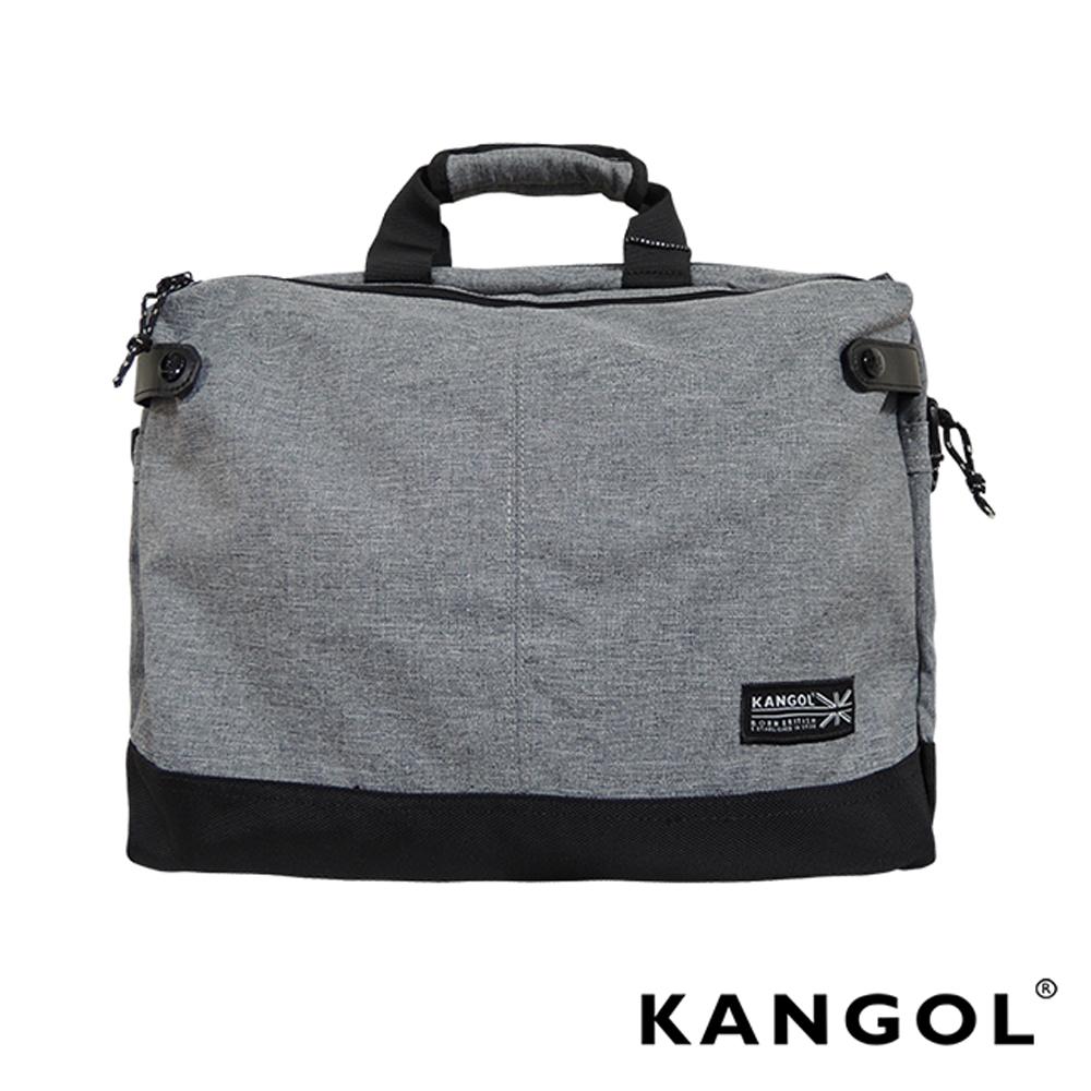KANGOL 韓國IT男爵系列-皮革拼接手提/側背兩用防潑水男女休閒商務包-混織灰