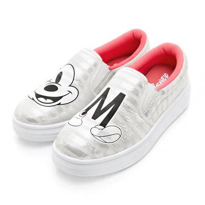 DISNEY 俏皮型人 條紋亮蔥厚底休閒鞋-白