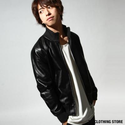 羅紋領皮衣夾克騎士外套 ZIP日本男裝