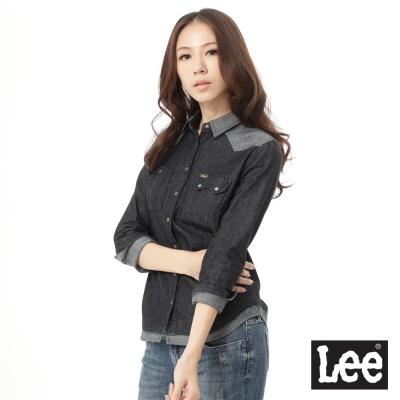 Lee 牛仔襯衫101+合身拼接-女-藍