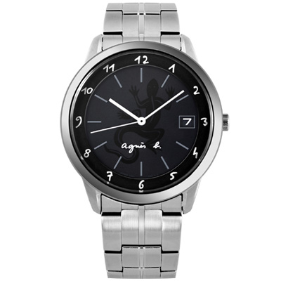 agnes b 蜥蜴圖樣刻畫不鏽鋼時尚腕錶-40mm(BP9001J1)