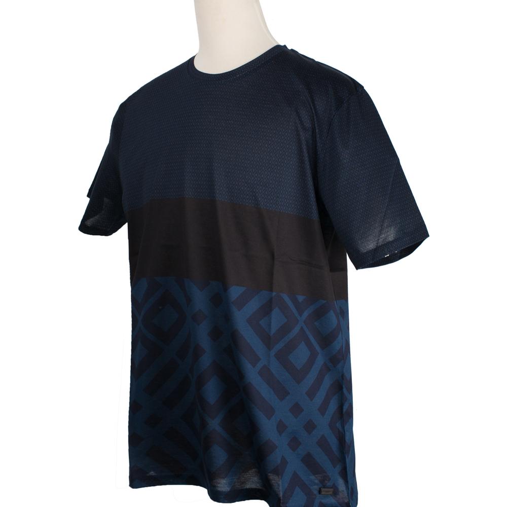 BURBERRY 紳士拼接菱格紋圓領棉質上衣-深藍色
