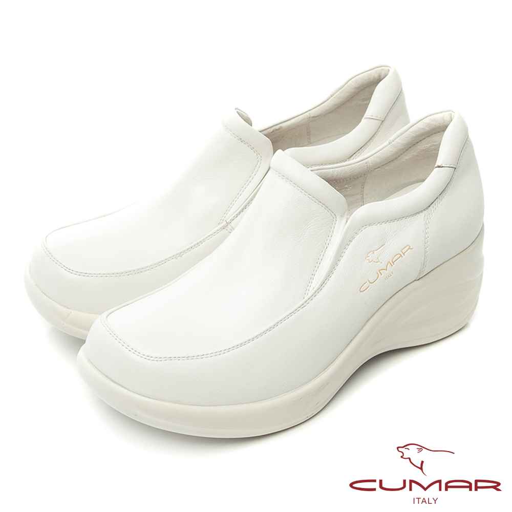 CUMAR獨家氣墊 舒適好穿真皮厚底氣墊鞋-白