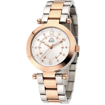 Kappa 十全十美不鏽鋼時尚腕錶-銀x玫瑰金/38mm