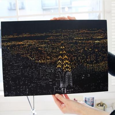 LAGO 手刮城市金色夜景手刮畫(附刮棒)-紐約