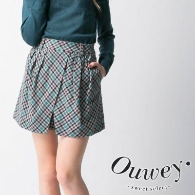 OUWEY歐薇-經典不敗格紋短褲-綠-藍
