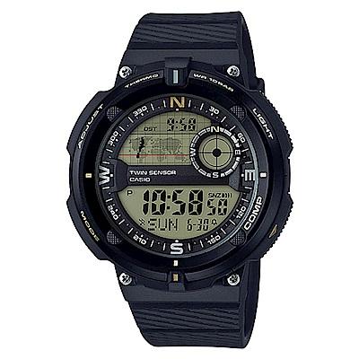 CASIO 世界地圖概念雙傳感器數位運動錶(SGW-600H-9)-黃面-50.6mm