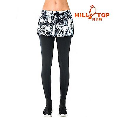 【hilltop山頂鳥】女款吸濕排汗抗UV彈性長褲S07FF8-深藍