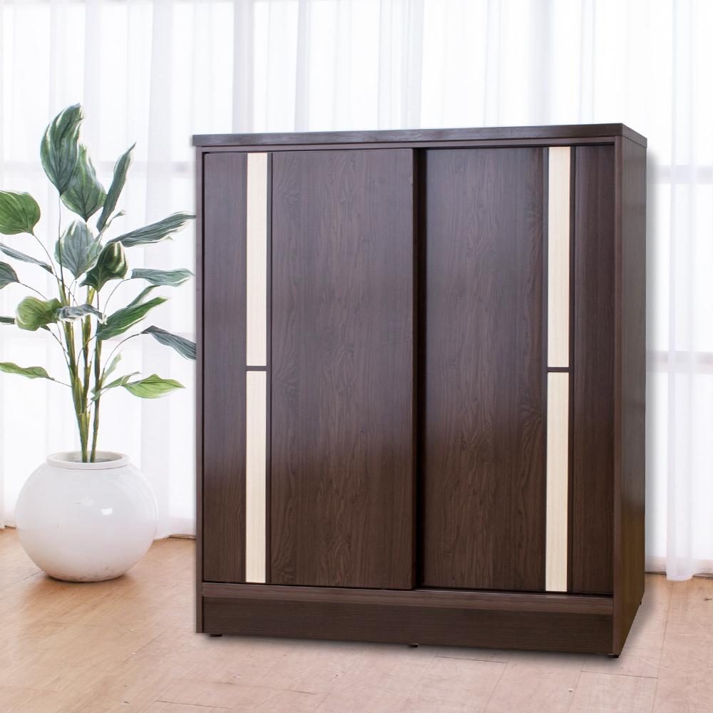 Birdie南亞塑鋼-3尺拉門/推門塑鋼鞋櫃(胡桃色+白橡色)-90x41x104cm