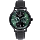 MINI Swiss Watches Cooper英倫風時尚雙環手錶-綠黑X黑帶/42mm