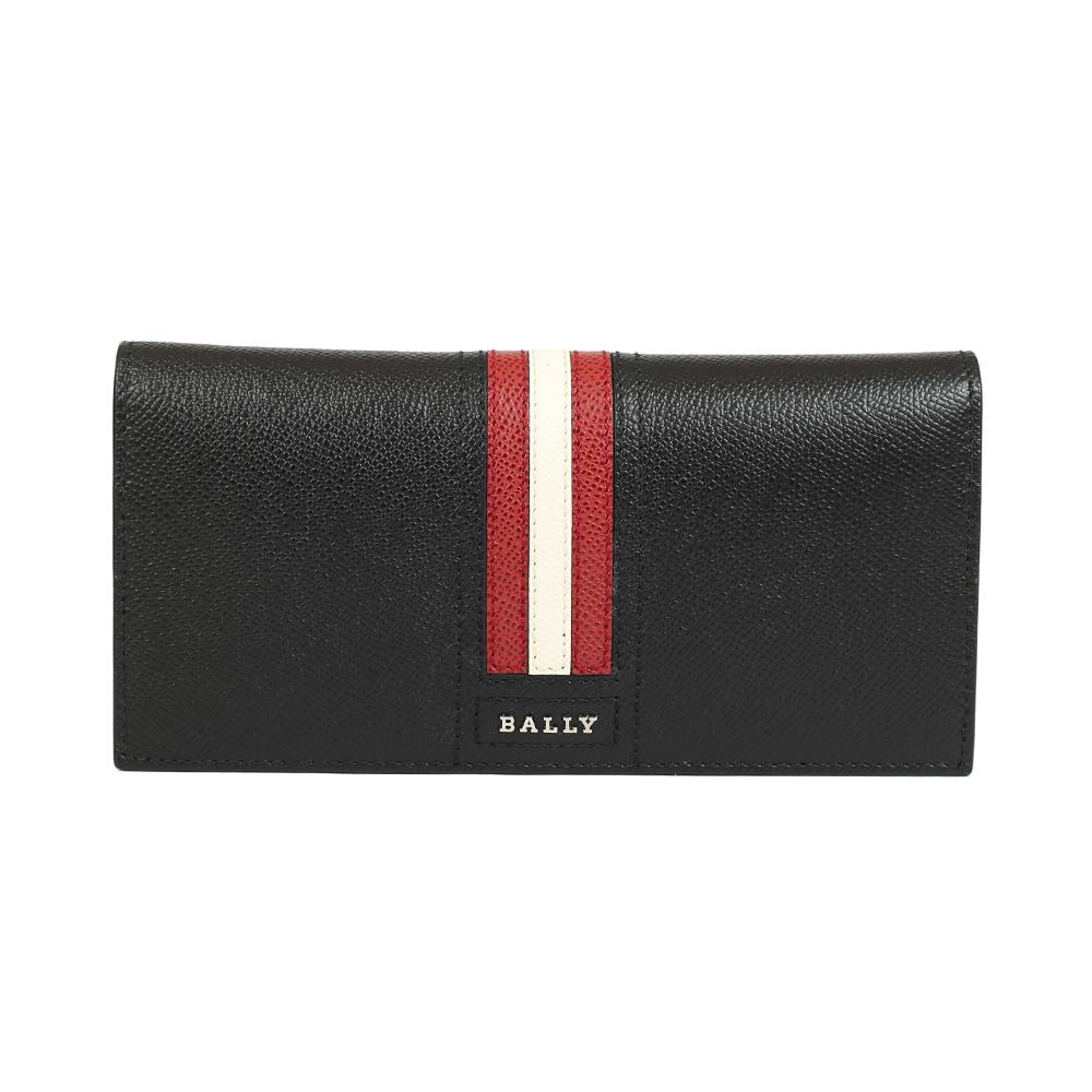 BALLY 防刮皮革 對折長夾(黑紅)