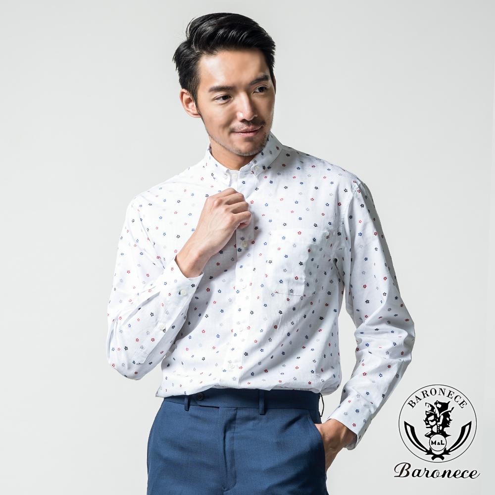 BARONECE 質感品味提花純棉休閒襯衫_白色(617405-01)