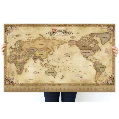 indimap 環遊世界世界地圖海報(改版-單張)-01古董版