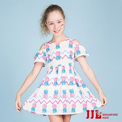 JJLKIDS 繽紛鳳梨露肩縮腰短袖洋裝(白色)