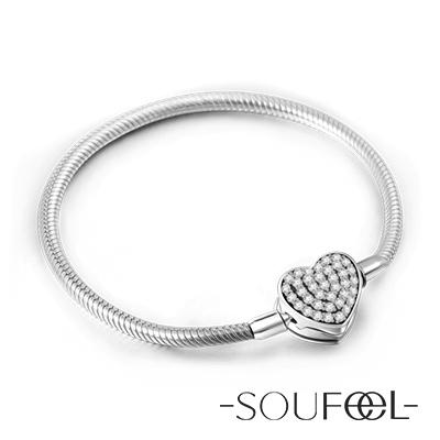 SOUFEEL索菲爾 925純銀珠飾 手鍊 心形扣頭