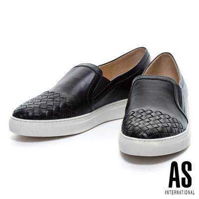 休閒鞋-AS-時尚編織風格全真皮厚底休閒鞋-黑