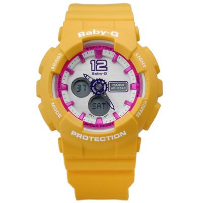 BABY-G 活力休閒個性指針數位雙顯橡膠腕錶(BA-120-9B)-桃x黃/42mm