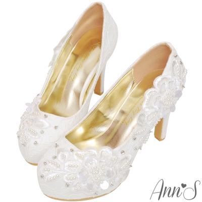 Ann'S Bridal古典花園婚紗質地骨董蕾絲防水台婚鞋