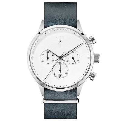 TYLOR 質感三眼計時皮革手錶-白X藍灰/41mm