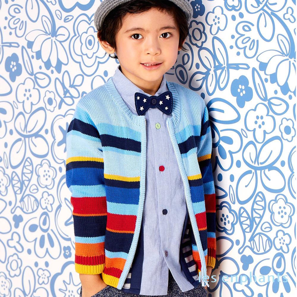 les enphants 繽紛條紋線衫外套/6-8號 藍色