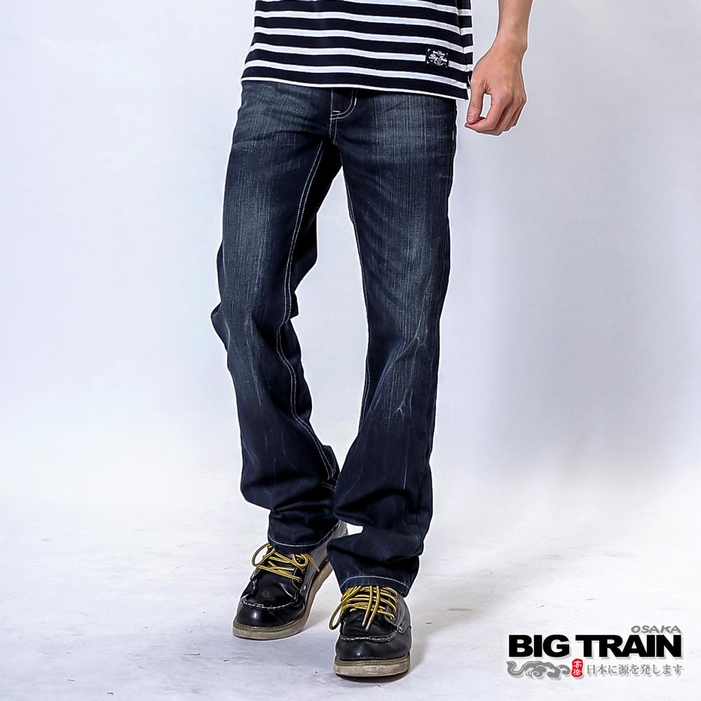 BIG TRAIN 配皮小直筒褲-男-藍灰