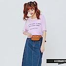 H:CONNECT 韓國品牌 女裝-個性標語柔軟T-Shirt-紫 - 動態show