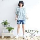 betty's貝蒂思 個性插圖破壞感短褲(牛仔藍)