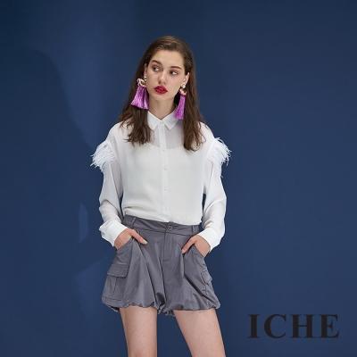 Hana+花木馬 光澤空氣感燈籠口袋造型短褲-灰(3色)