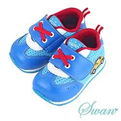 Swan天鵝童鞋-可愛汽車警車機能學步鞋 1554-藍