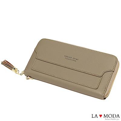 La Moda 熱銷經典流蘇手挽大容量長夾手機包(灰)