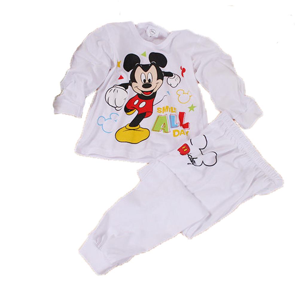 迪士尼米奇薄款長袖套裝 白 k60222