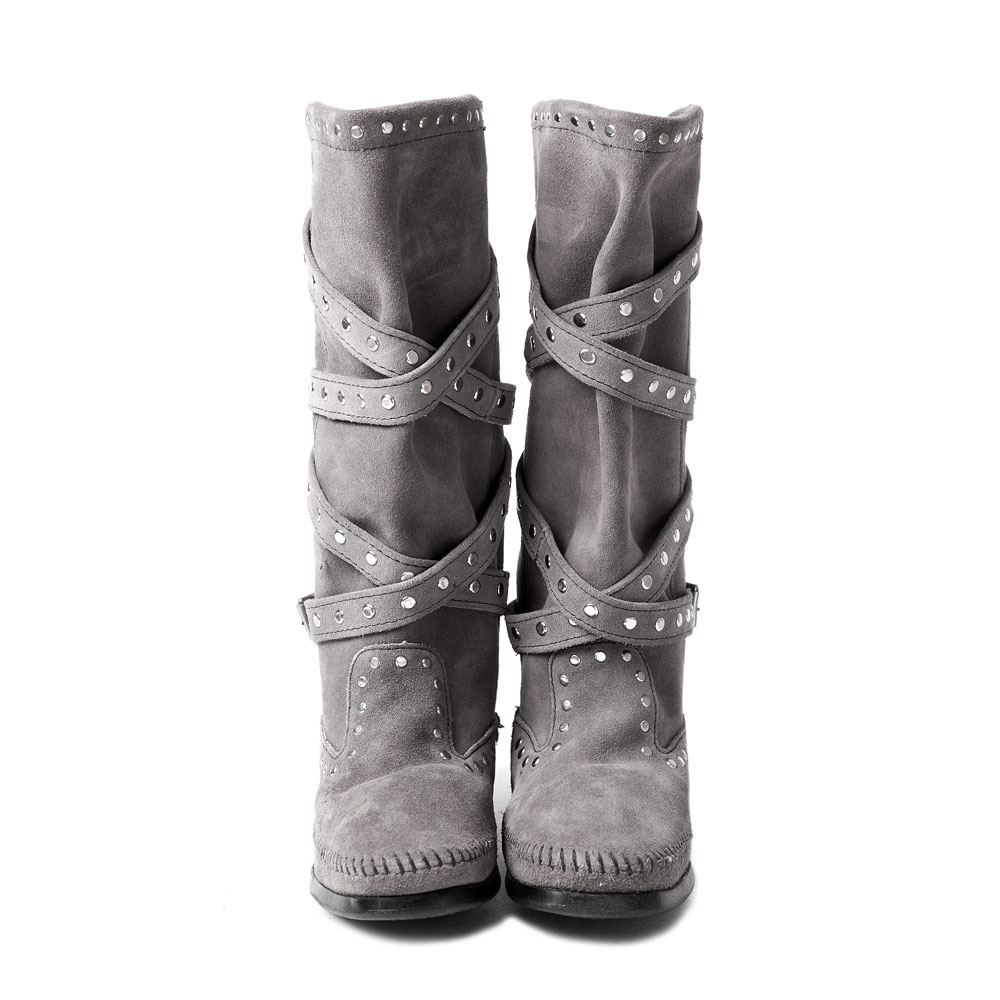 MINNETONKA-STUDDED STRAP鉚釘繞帶長靴-灰色