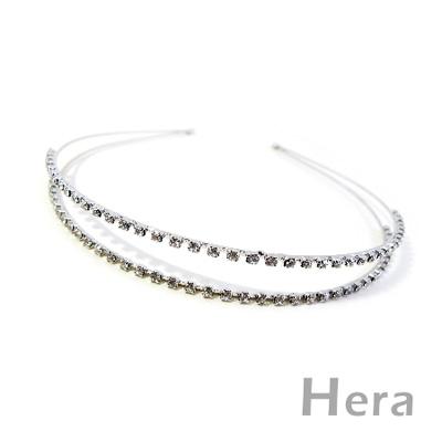 【Hera】星光閃耀 滿鑽雙層簡約造型髮箍(時尚銀)