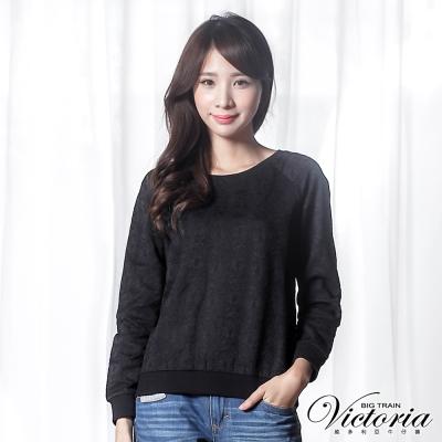 Victoria 蕾絲貼合布拉克蘭長袖T-女-黑色