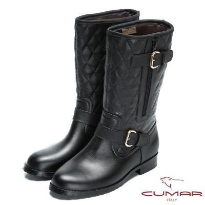 CUMAR雨天時尚 經典菱格紋造型短雨靴-黑色