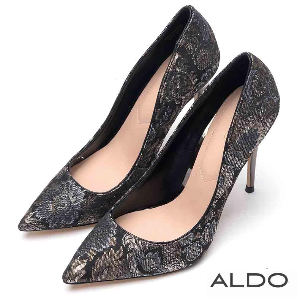 ALDO 原色壓紋真皮墊腳尖頭細高跟鞋~尊爵黑金
