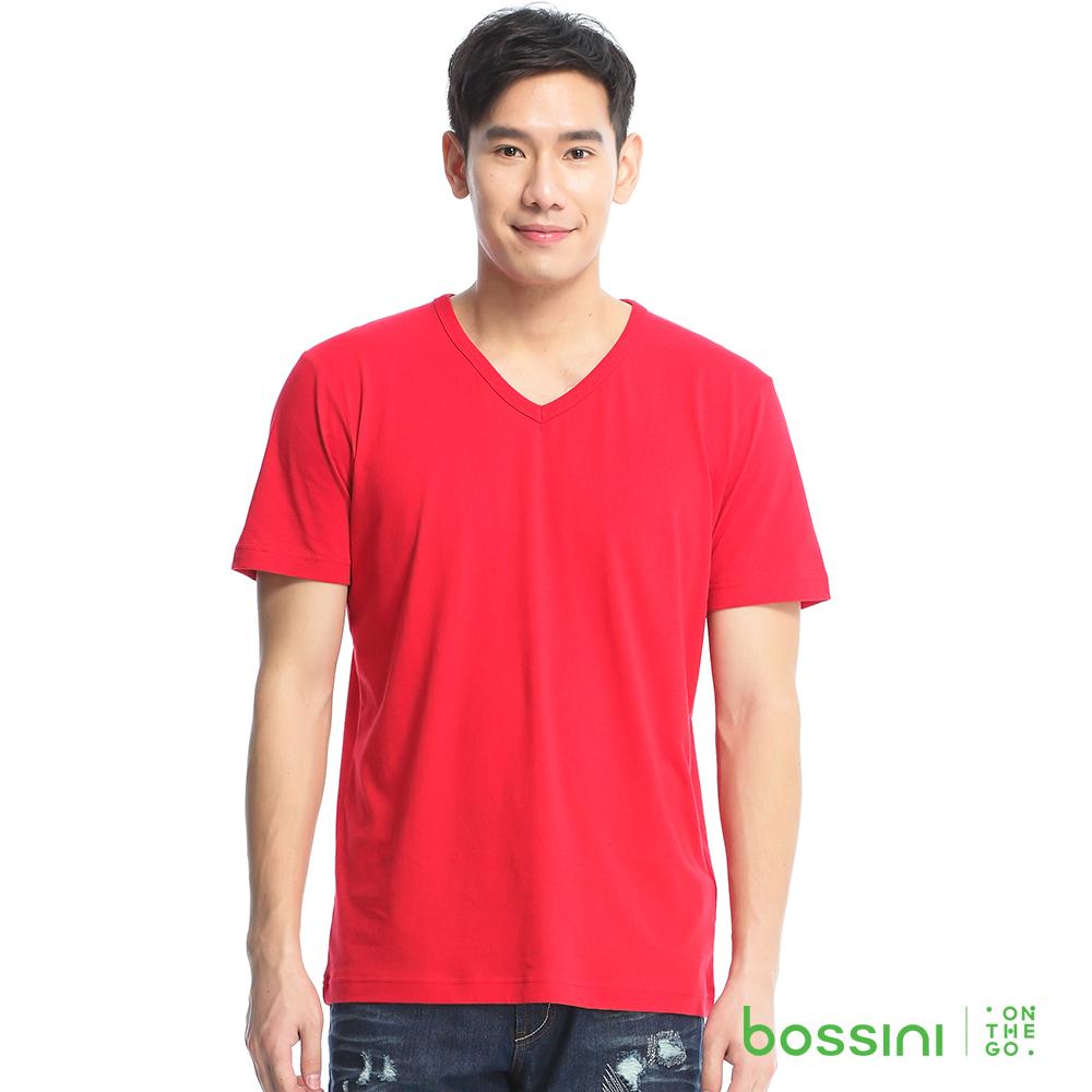bossini男裝-素色純棉V領T恤12紅