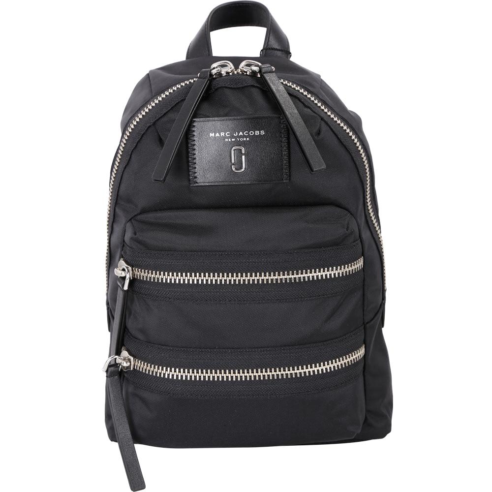 MARC JACOBS Nylon Biker JJ 金屬設計尼龍後背包(Mini/黑色)