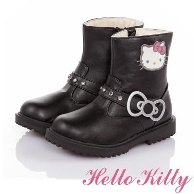 HelloKitty 傳統手工鞋廠高級超纖皮革童靴-黑色