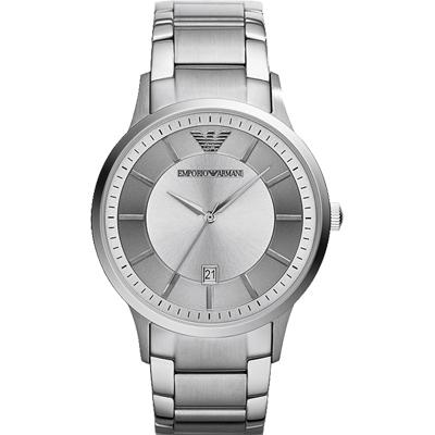 ARMANI Classic 都會紳士簡約腕錶-銀/ 43mm