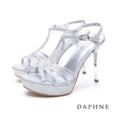 達芙妮DAPHNE 涼鞋-水鑽金蔥線條前高後高細跟涼鞋-銀
