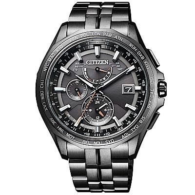 CITIZEN光動能鈦金世界時間萬年曆電波錶(AT9097-54E)-黑 /43mm